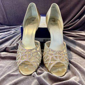 Stuart Weitzman Gold Studded Open Toe Heels